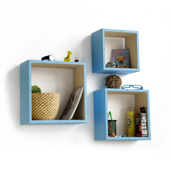 Trista [Pure Blue White] Square Leather Wall Shelf Bookshelf Enchanting White Square Floating Shelves