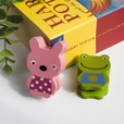 [Frog & Rabbit] - Card Holder / Wooden Clips / Wooden Clamps / Animal Clips