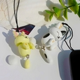 [White Cat & Beige Rabbit] - Cell Phone Charm Strap / Camera Charm Strap / Handbags Charms