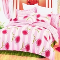 [Pink Chrysanthemum] 100% Cotton 5PC Comforter Set (Full Size)
