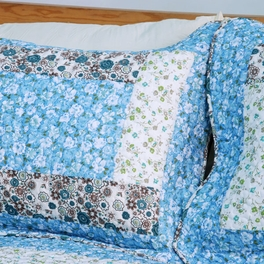 [Midsummer Dream] Cotton 2PC Floral Vermicelli-Quilted Patchwork Quilt Set (Twin Size)