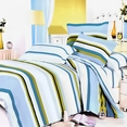 [Cool Summer Tea] 100% Cotton 5PC Comforter Set (Queen Size)