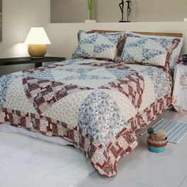 [Floral Journey] Cotton 3PC Floral Vermicelli-Quilted Patchwork Quilt Set (Full/Queen Size)