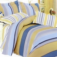 [Golden Blue Stripes] 100% Cotton 5PC Comforter Set (King Size)