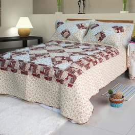 [Fantasy Flowers] Cotton 3PC Floral Vermicelli-Quilted Patchwork Quilt Set (Full/Queen Size)