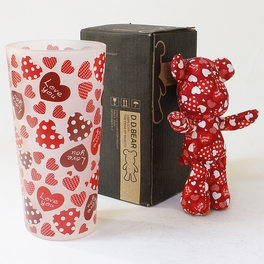 [Heart Red] Stuffed Bear Glass Cup (6.3 inch height)