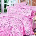[Pink Bubbles] 100% Cotton 4PC Duvet Cover Set (Queen Size)