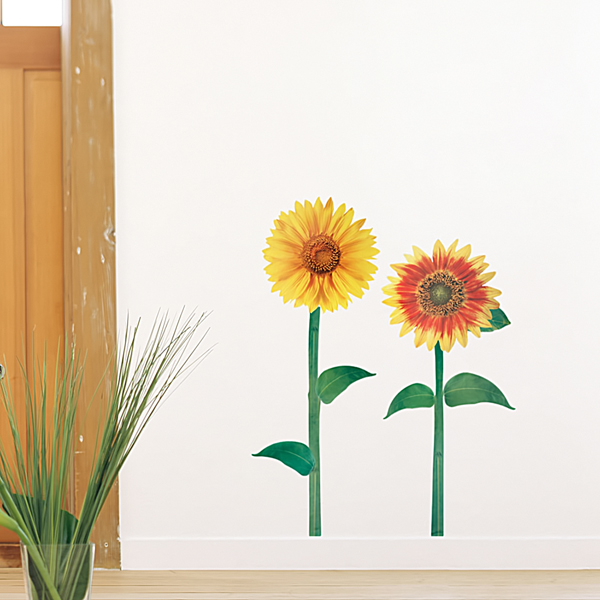 sunflowers wall decals stickers appliques home decor. Black Bedroom Furniture Sets. Home Design Ideas