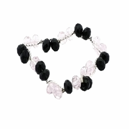 Clear Faceted Crystals Black Faceted Crystals Silver Bracelet Stretchable Stylish