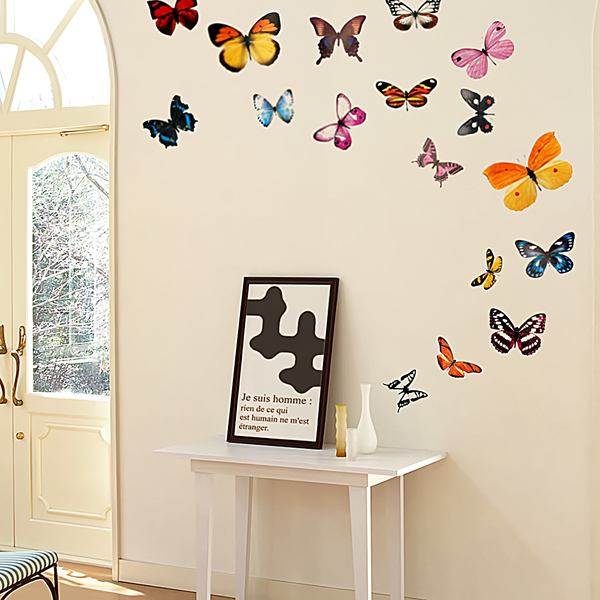 Butterflies wall decals stickers appliques home decor for Butterfly wall mural
