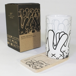 [Rabbit] Graphic Mug / Wood Coaster - No Handle (4.4 inch height)