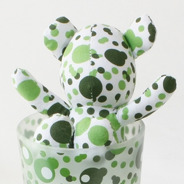 [Bubble Green] Stuffed Bear Glass Cup (6.3 inch height)