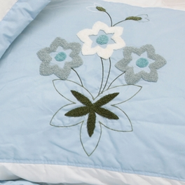 [Sky Blue Fantasy] Hand-Appliqued Quilt Set (Full/Queen Size)
