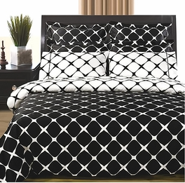 Black & White 8PC Bloomingdale Duvet covers and sheet set(Full Size)
