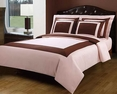 Full/Queen Blush/Chocolate Hotel 5-PC Duvet cover set