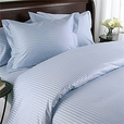 Lt. Blue Damask Stripe, Down Alternative 4-PC Comforter Set, 100% Egyptian cotton, 600 Thread count(Full/Queen)