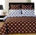 Chocolate and Blue 8PC Bloomingdale Duvet covers & sheet Set(Queen Size)