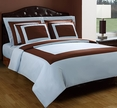Full/Queen Blue/Chocolate Hotel 5-PC Duvet cover set