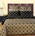 Taupe and Black 8PC Bloomingdale Duvet covers and sheet set(Queen Size)