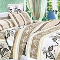 [Beige Deer Totem] 100% Cotton 4PC Duvet Cover Set (Queen Size)
