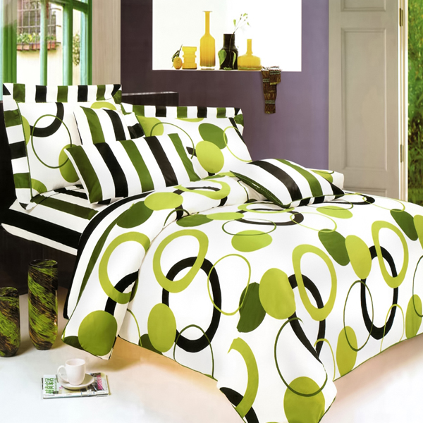 Artistic Green 100 Cotton 7pc Mega Duvet Cover Set Queen Size