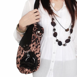 [Casual Leopard Temptation] Coffee Double Handle Satchel Hobo Handbag w/Shoulder Strap