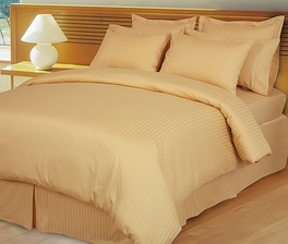 Gold Damask Stripe Down Alternative 4-pc Comforter Set, 100% Egyptian cotton, 600 Thread count(King/Calking)