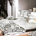 [Black & White] 100% Cotton 5PC Bed In A Bag (Twin Size)