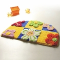 [Yellow / Blue Flowers] Kids Room Rugs (15.7 by 24.8 inches)