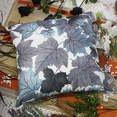 [Blue Maple Leaf] Decorative Pillow Cushion / Floor Cushion (23.6 by 23.6 inches)
