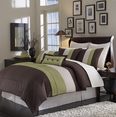 Grand Park SAGE/CHOCOLATE 8PC Bed in a Bag(Queen Size)