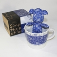 [Flower Blue] Stuffed Bear Mug (3.3 inch height)