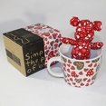 [Heart Red] Stuffed Bear Mug (3.3 inch height)