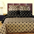 Taupe & Black Bloomingdale 9PC Egyptian cotton Bed in a bag(Queen Size)