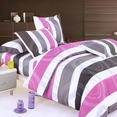 [Pink Purple Swirls] 100% Cotton 4PC Duvet Cover set (Queen Size)