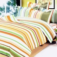 [Orange Stripes] 100% Cotton 7PC Bed In A Bag (King Size)