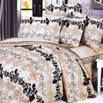 [Beige Brown Classic] 100% Cotton 4PC Duvet Cover Set (Queen Size)