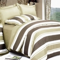 [Chocolate Stripes] 100% Cotton 4PC Duvet Cover Set (King Size)