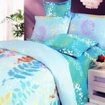 [Turquoise Spring] 100% Cotton 4PC Duvet Cover Set (Queen Size)