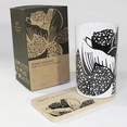 [Peony] Graphic Mug / Wood Coaster - No Handle (4.4 inch height)