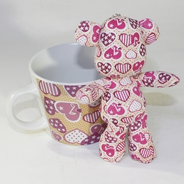 [Heart Pink] Stuffed Bear Mug (3.3 inch height)