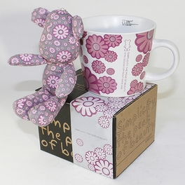 [Flower Pink] Stuffed Bear Mug (3.3 inch height)