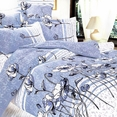 [Pale Blue Lotus] 100% Cotton 5PC Bed In A Bag (Twin Size)