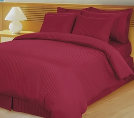 Burgundy Damask Stripe Down Alternative 4-pc Comforter Set, Egyptian 600 count(King/-Calking)