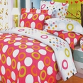 [Coral Red] 100% Cotton 5PC Comforter Set (Queen Size)