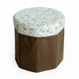 [Sweet Flowers] Round Foldable Storage Ottoman / Storage Boxes / Storage Seat