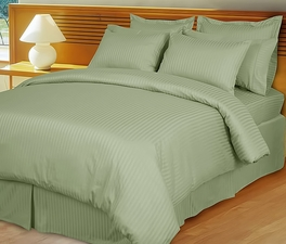 Sage/Mint Green Damask Stripe Down Alternative 4-PC comforter Set, 100% Egyptian cotton, 600 Thread count(Full/Queen)