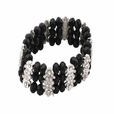 Black Faceted Crystals Diamond Silver Bracelet Stretchable Stylish