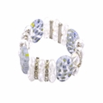 White Polished Stones Clear Faceted Crystals Diamond Rings Bracelet Stretchable Stylish