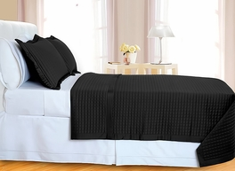 Black Checkered Coverlet Set 3PC Egyptian cotton 400 Thread count(King/Calking)